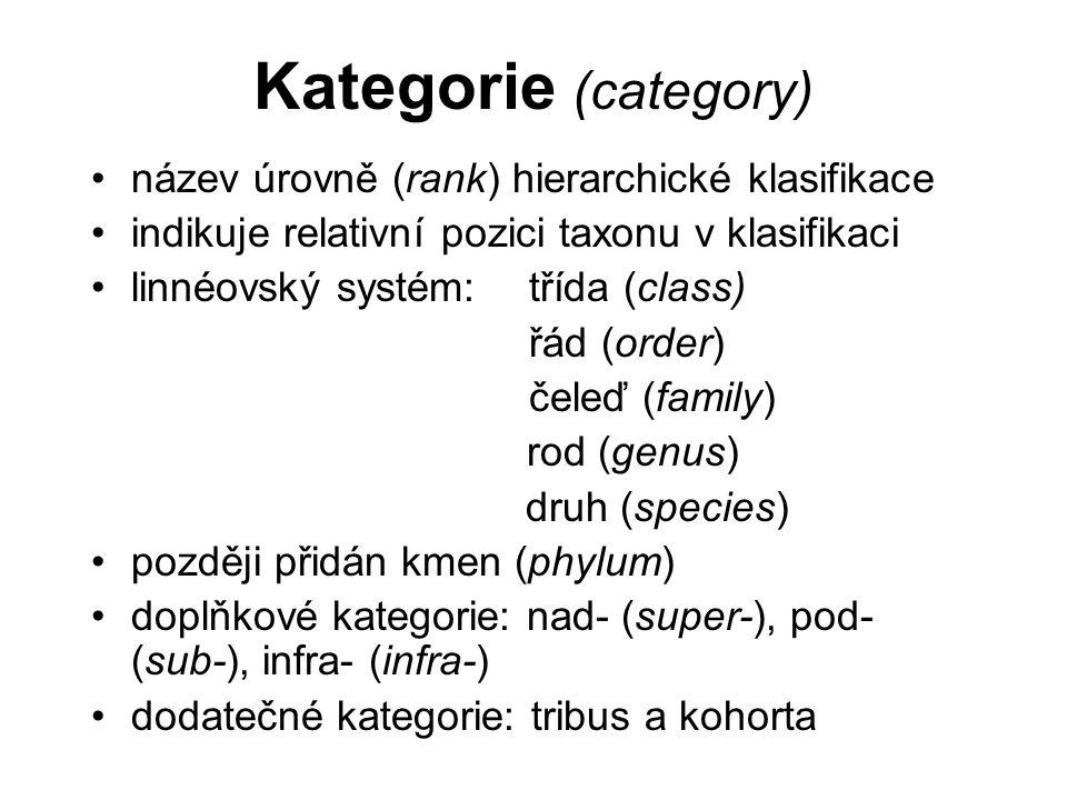 Kategorie (category) název úrovně (rank) hierarchické klasifikace indikuje relativní pozici taxonu v klasifikaci linnéovský systém: třída (class) řád