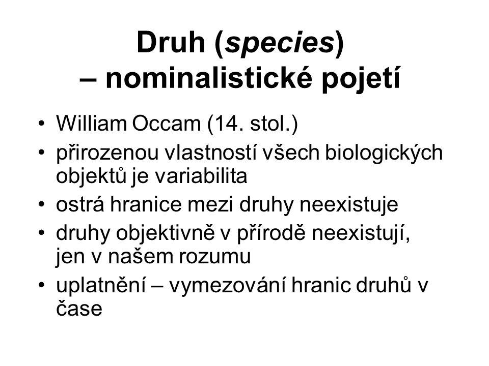 Druh (species) – nominalistické pojetí William Occam (14. stol.) přirozenou vlastností všech biologických objektů je variabilita ostrá hranice mezi dr