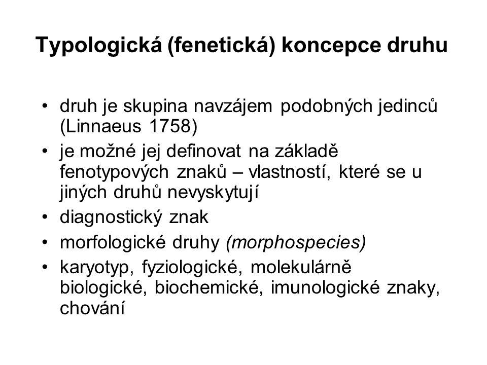Typologická (fenetická) koncepce druhu druh je skupina navzájem podobných jedinců (Linnaeus 1758) je možné jej definovat na základě fenotypových znaků