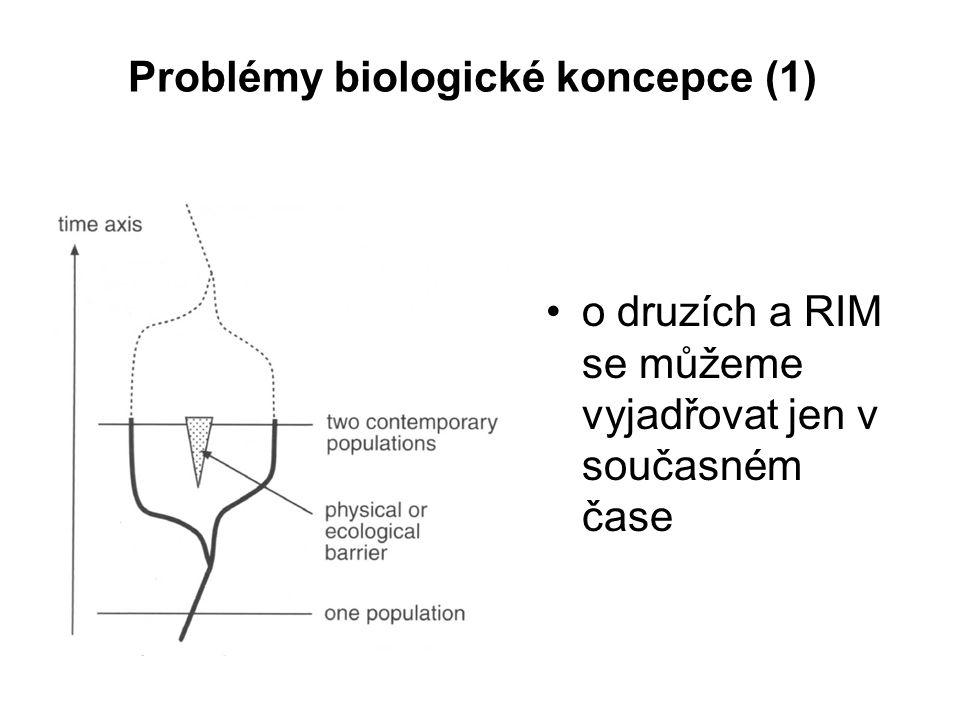 Problémy biologické koncepce (1) o druzích a RIM se můžeme vyjadřovat jen v současném čase