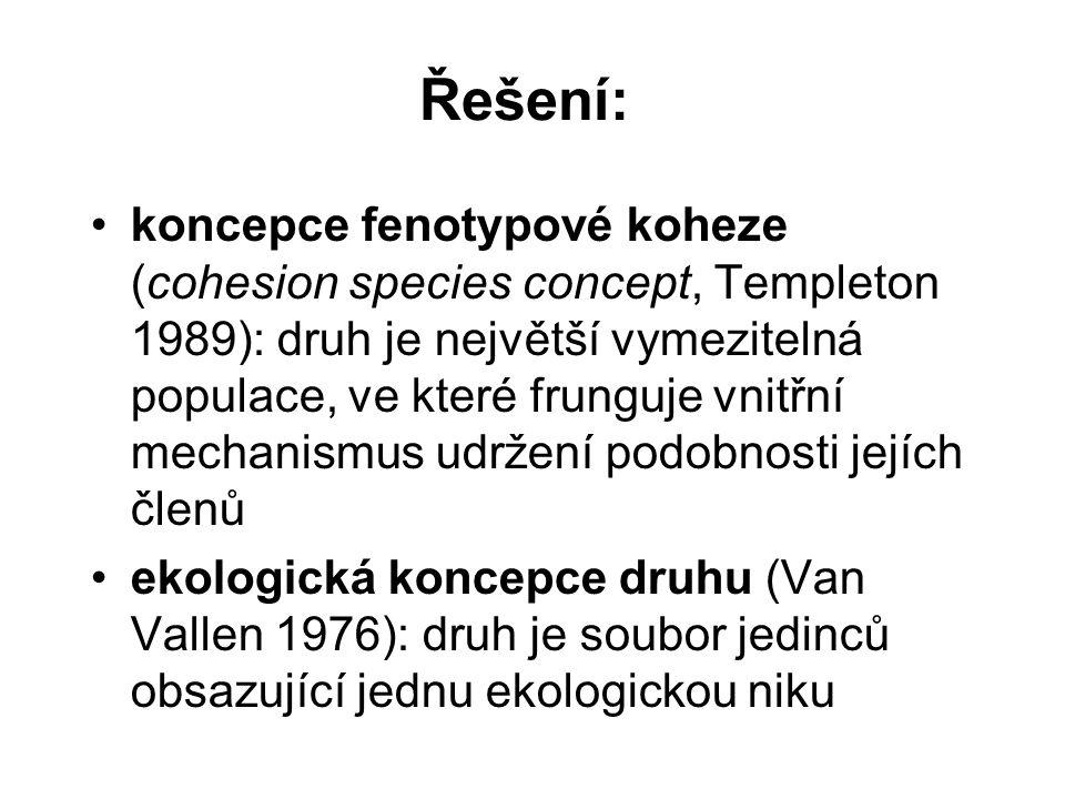 Řešení: koncepce fenotypové koheze (cohesion species concept, Templeton 1989): druh je největší vymezitelná populace, ve které frunguje vnitřní mechan