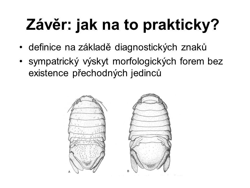 Závěr: jak na to prakticky? definice na základě diagnostických znaků sympatrický výskyt morfologických forem bez existence přechodných jedinců