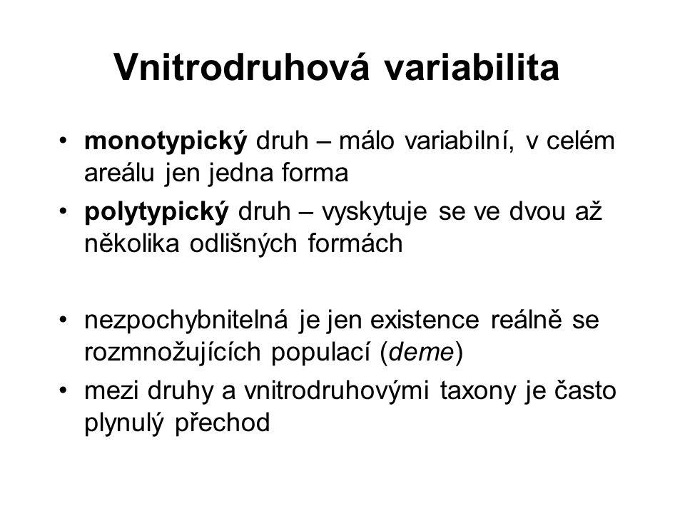 Vnitrodruhová variabilita monotypický druh – málo variabilní, v celém areálu jen jedna forma polytypický druh – vyskytuje se ve dvou až několika odliš