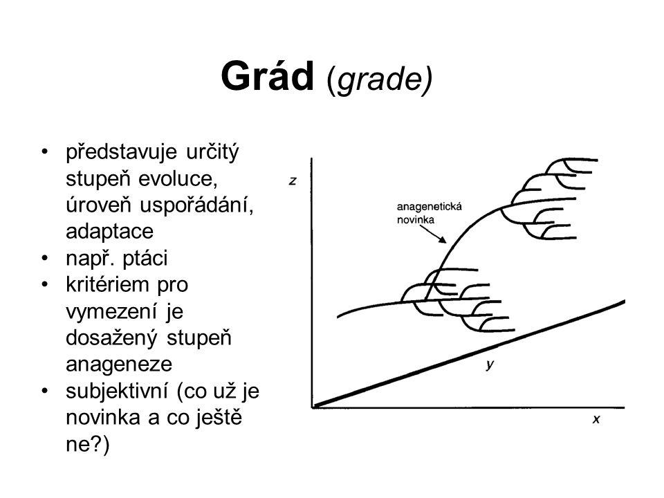 Grád (grade) představuje určitý stupeň evoluce, úroveň uspořádání, adaptace např. ptáci kritériem pro vymezení je dosažený stupeň anageneze subjektivn
