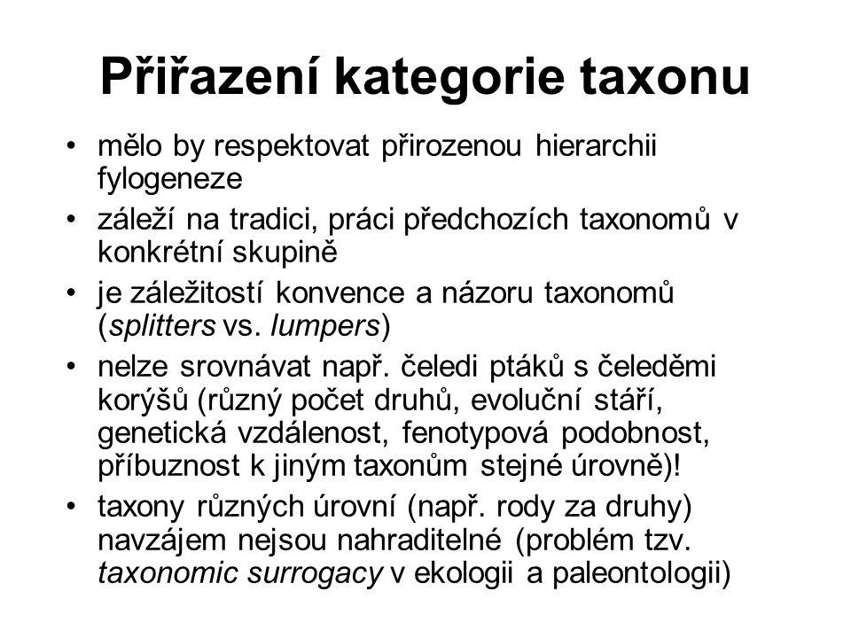 Přiřazení kategorie taxonu mělo by respektovat přirozenou hierarchii fylogeneze záleží na tradici, práci předchozích taxonomů v konkrétní skupině je z