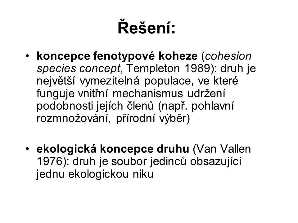 Řešení: koncepce fenotypové koheze (cohesion species concept, Templeton 1989): druh je největší vymezitelná populace, ve které funguje vnitřní mechani