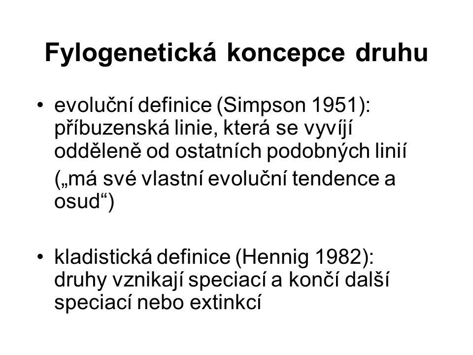 """Fylogenetická koncepce druhu evoluční definice (Simpson 1951): příbuzenská linie, která se vyvíjí odděleně od ostatních podobných linií (""""má své vlast"""
