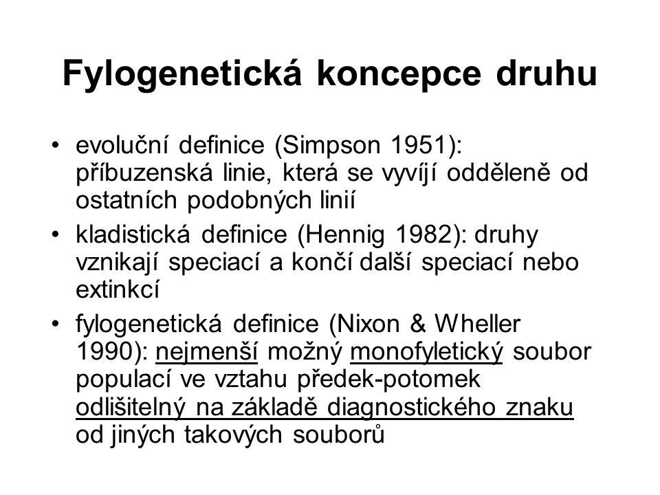 Fylogenetická koncepce druhu evoluční definice (Simpson 1951): příbuzenská linie, která se vyvíjí odděleně od ostatních podobných linií kladistická de