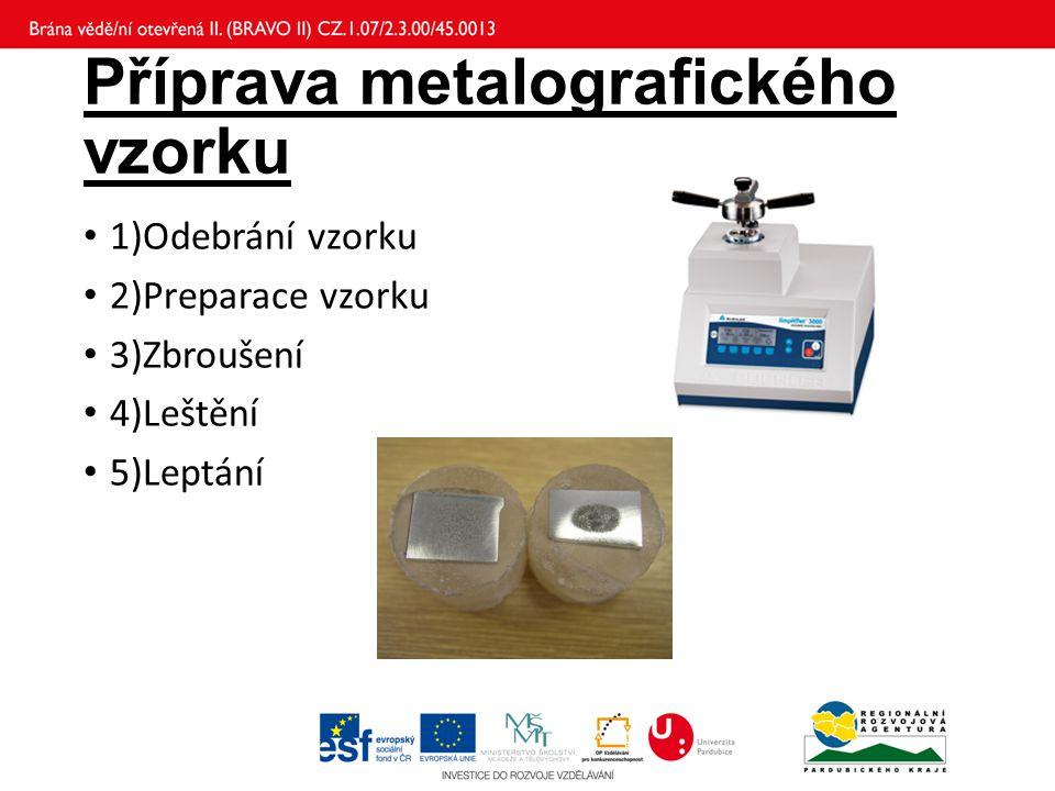 Příprava metalografického vzorku 1)Odebrání vzorku 2)Preparace vzorku 3)Zbroušení 4)Leštění 5)Leptání
