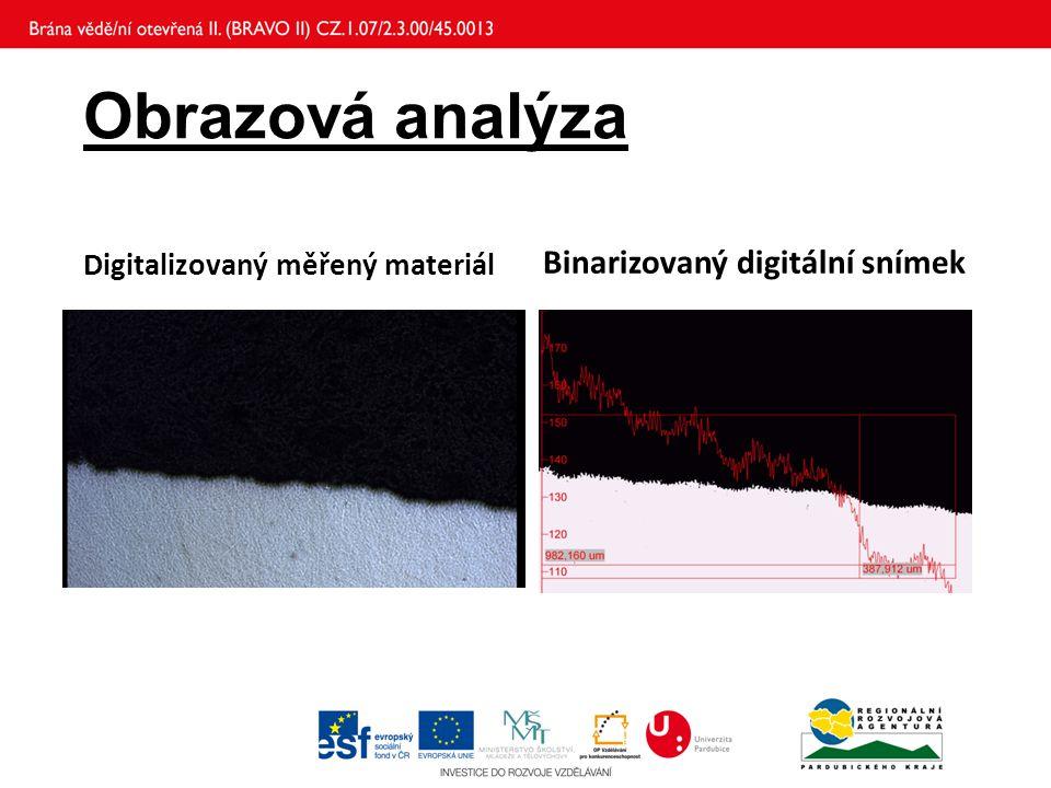 Obrazová analýza Digitalizovaný měřený materiál Binarizovaný digitální snímek