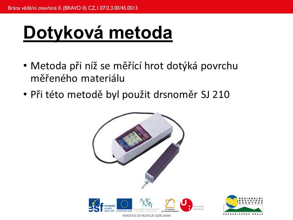 Dotyková metoda Metoda při níž se měřící hrot dotýká povrchu měřeného materiálu Při této metodě byl použit drsnoměr SJ 210