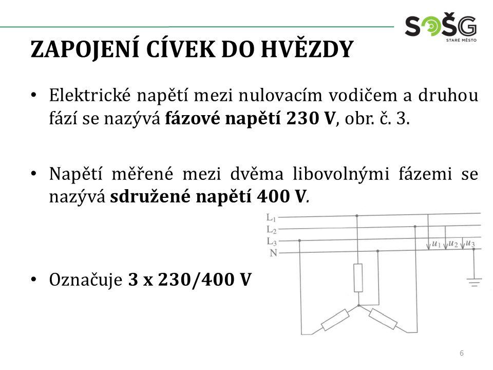Elektrické napětí mezi nulovacím vodičem a druhou fází se nazývá fázové napětí 230 V, obr. č. 3. Napětí měřené mezi dvěma libovolnými fázemi se nazývá
