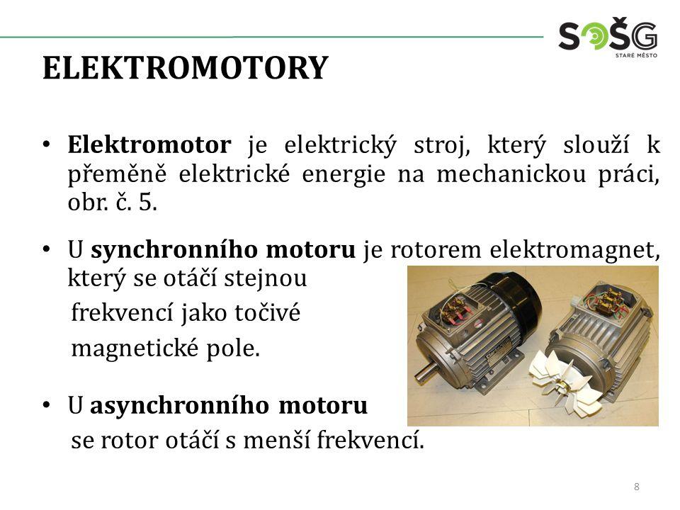 ELEKTROMOTORY Elektromotor je elektrický stroj, který slouží k přeměně elektrické energie na mechanickou práci, obr. č. 5. U synchronního motoru je ro