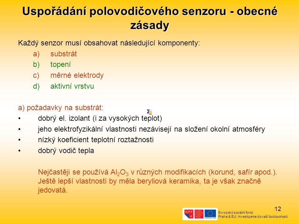 Evropský sociální fond. Praha & EU: Investujeme do vaší budoucnosti. 12 Uspořádání polovodičového senzoru - obecné zásady Každý senzor musí obsahovat