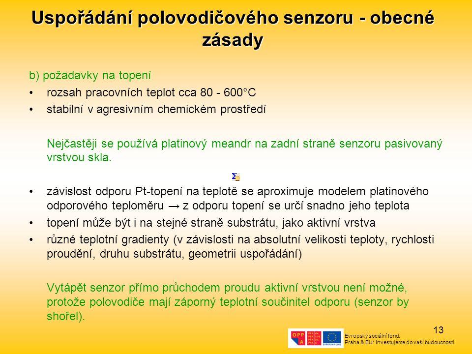 Evropský sociální fond. Praha & EU: Investujeme do vaší budoucnosti. 13 Uspořádání polovodičového senzoru - obecné zásady b) požadavky na topení rozsa