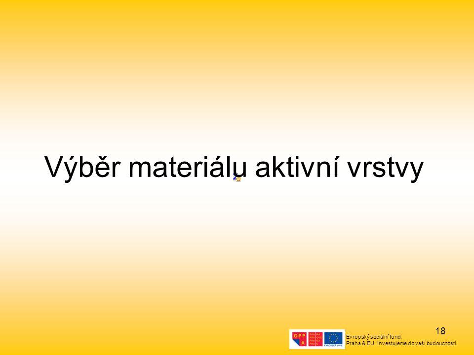 Evropský sociální fond. Praha & EU: Investujeme do vaší budoucnosti. 18 Výběr materiálu aktivní vrstvy