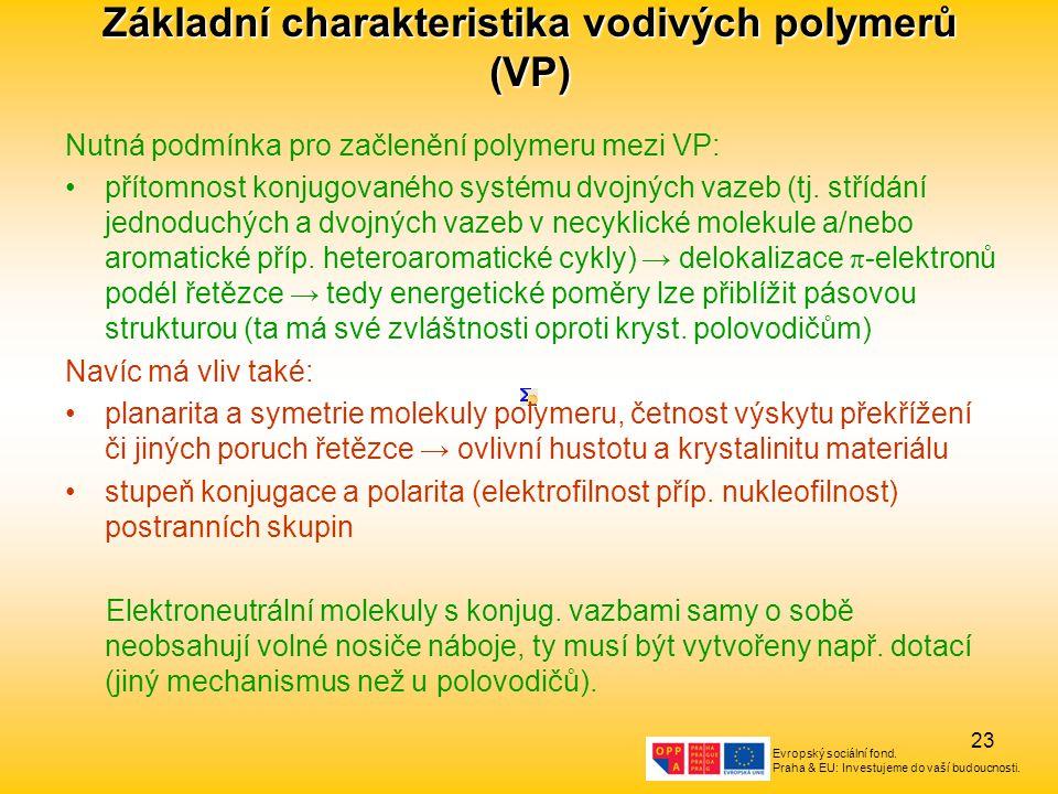 Evropský sociální fond. Praha & EU: Investujeme do vaší budoucnosti. 23 Základní charakteristika vodivých polymerů (VP) Nutná podmínka pro začlenění p
