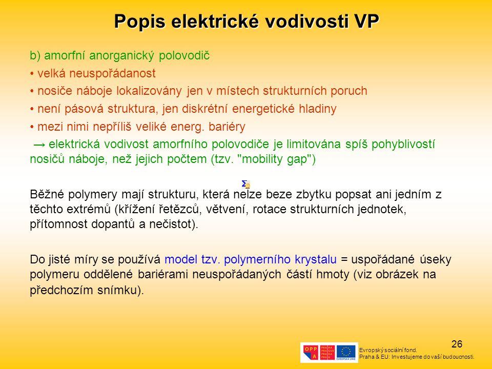 Evropský sociální fond. Praha & EU: Investujeme do vaší budoucnosti. 26 Popis elektrické vodivosti VP b) amorfní anorganický polovodič velká neuspořád