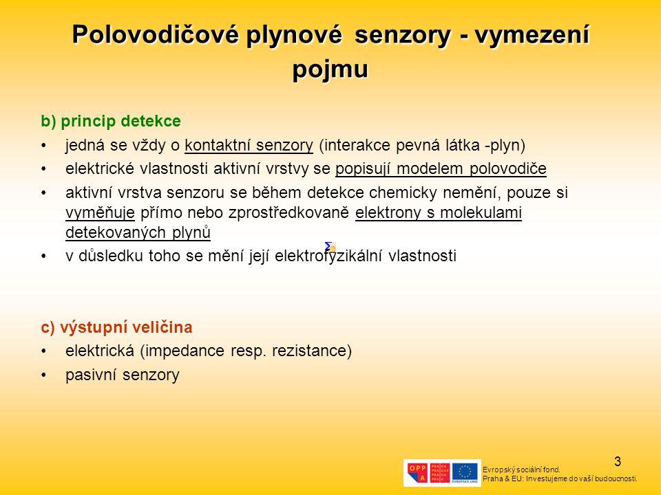 Evropský sociální fond. Praha & EU: Investujeme do vaší budoucnosti. 3 Polovodičové plynové senzory - vymezení pojmu b) princip detekce jedná se vždy