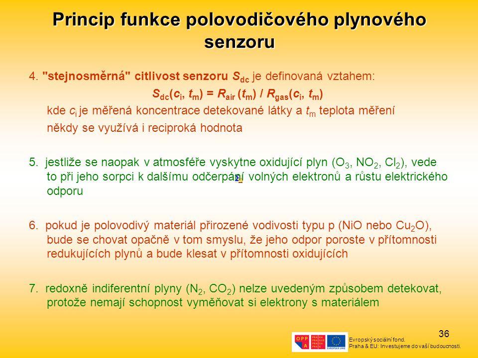 Evropský sociální fond. Praha & EU: Investujeme do vaší budoucnosti. 36 Princip funkce polovodičového plynového senzoru 4.
