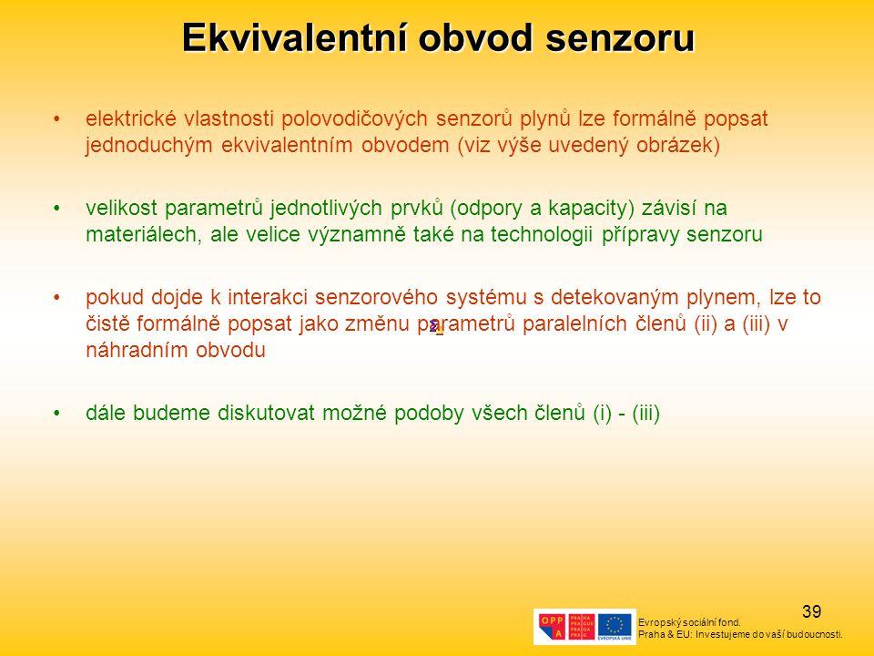 Evropský sociální fond. Praha & EU: Investujeme do vaší budoucnosti. 39 Ekvivalentní obvod senzoru elektrické vlastnosti polovodičových senzorů plynů
