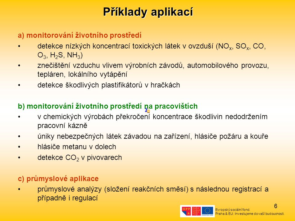 Evropský sociální fond. Praha & EU: Investujeme do vaší budoucnosti. 6 Příklady aplikací a) monitorování životního prostředí detekce nízkých koncentra
