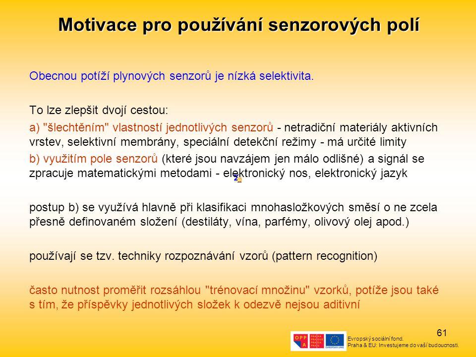 Evropský sociální fond. Praha & EU: Investujeme do vaší budoucnosti. 61 Motivace pro používání senzorových polí Obecnou potíží plynových senzorů je ní