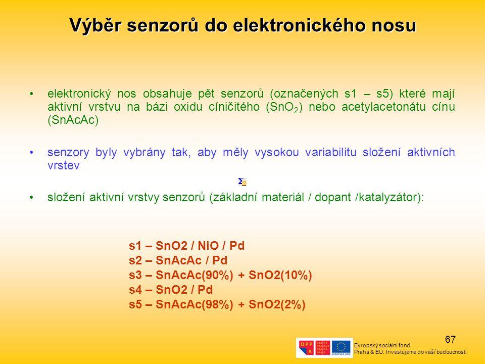 Evropský sociální fond. Praha & EU: Investujeme do vaší budoucnosti. 67 Výběr senzorů do elektronického nosu elektronický nos obsahuje pět senzorů (oz
