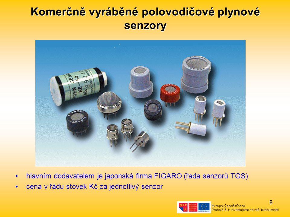 Evropský sociální fond. Praha & EU: Investujeme do vaší budoucnosti. 8 Komerčně vyráběné polovodičové plynové senzory hlavním dodavatelem je japonská