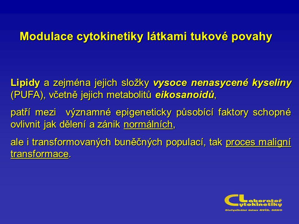 Modulace cytokinetiky látkami tukové povahy Lipidy a zejména jejich složky vysoce nenasycené kyseliny (PUFA), včetně jejich metabolitů eikosanoidů, pa
