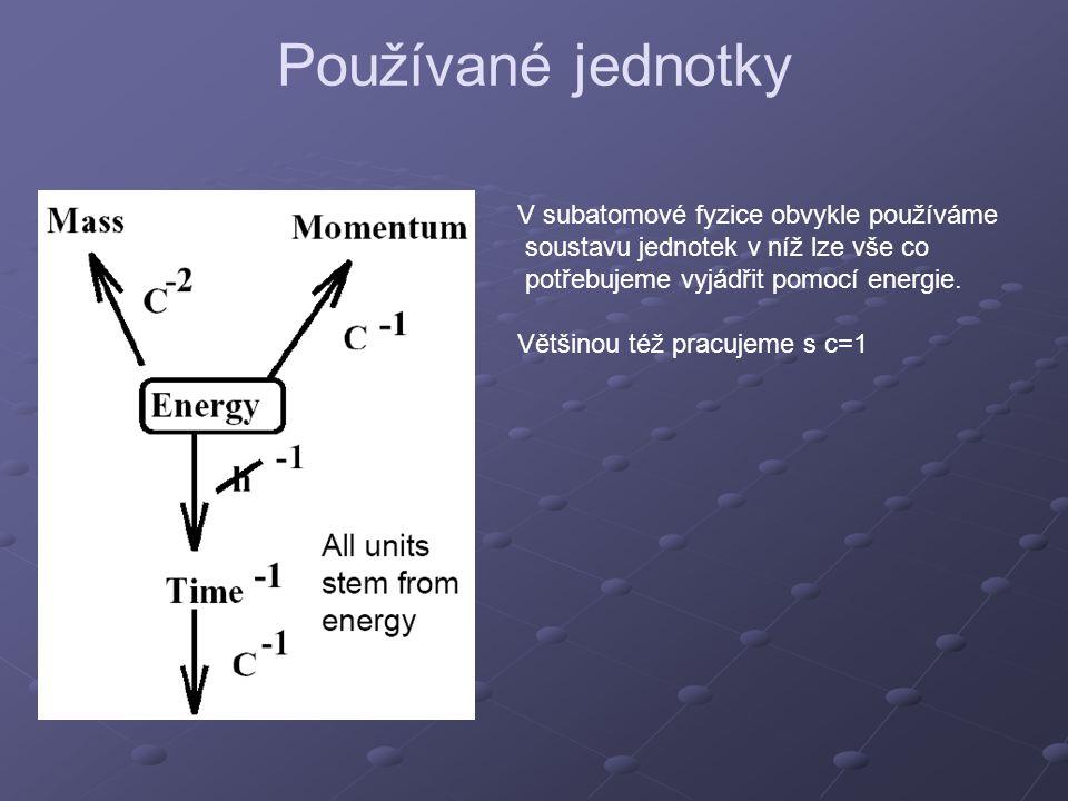 Používané jednotky V subatomové fyzice obvykle používáme soustavu jednotek v níž lze vše co potřebujeme vyjádřit pomocí energie. Většinou též pracujem