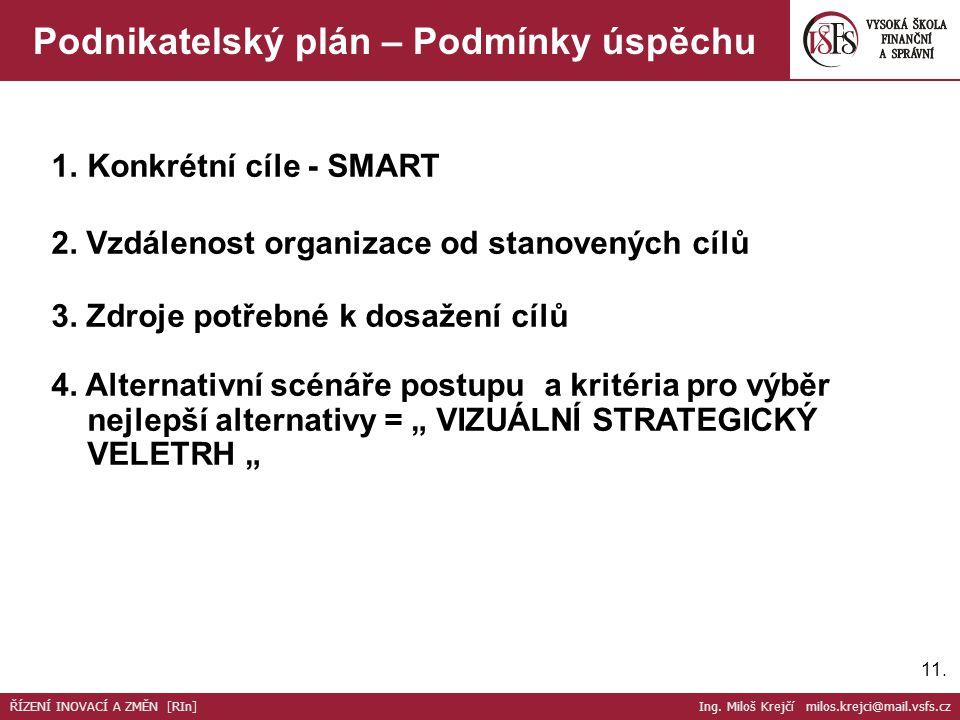 11. Podnikatelský plán – Podmínky úspěchu 1.Konkrétní cíle - SMART 2. Vzdálenost organizace od stanovených cílů 3. Zdroje potřebné k dosažení cílů 4.