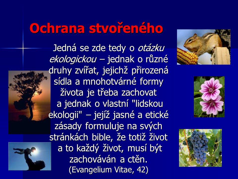 Jedná se zde tedy o otázku ekologickou – jednak o různé druhy zvířat, jejichž přirozená sídla a mnohotvárné formy života je třeba zachovat a jednak o vlastní lidskou ekologii – jejíž jasné a etické zásady formuluje na svých stránkách bible, že totiž život a jednak o vlastní lidskou ekologii – jejíž jasné a etické zásady formuluje na svých stránkách bible, že totiž život a to každý život, musí být zachováván a ctěn.