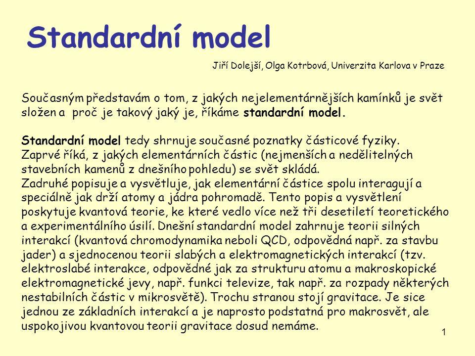 1 Standardní model Současným představám o tom, z jakých nejelementárnějších kamínků je svět složen a proč je takový jaký je, říkáme standardní model.