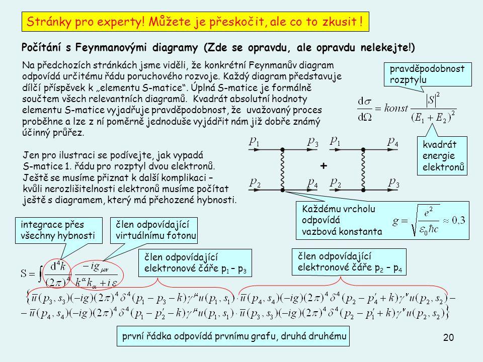 20 Každému vrcholu odpovídá vazbová konstanta Stránky pro experty! Můžete je přeskočit, ale co to zkusit ! Počítání s Feynmanovými diagramy (Zde se op