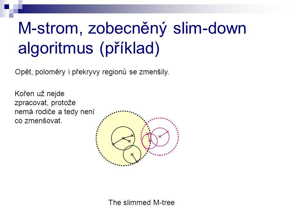 M-strom, zobecněný slim-down algoritmus (příklad) The slimmed M-tree Kořen už nejde zpracovat, protože nemá rodiče a tedy není co zmenšovat. Opět, pol