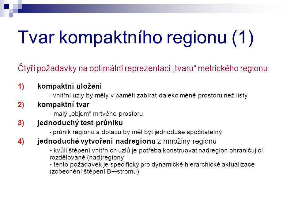 """Tvar kompaktního regionu (1) Čtyři požadavky na optimální reprezentaci """"tvaru metrického regionu: 1)kompaktní uložení - vnitřní uzly by měly v paměti zabírat daleko méně prostoru než listy 2)kompaktní tvar - malý """"objem mrtvého prostoru 3)jednoduchý test průniku - průnik regionu a dotazu by měl být jednoduše spočitatelný 4)jednoduché vytvoření nadregionu z množiny regionů - kvůli štěpení vnitřních uzlů je potřeba konstruovat nadregion ohraničující rozdělované (nad)regiony - tento požadavek je specifický pro dynamické hierarchické aktualizace (zobecnění štěpení B+-stromu)"""