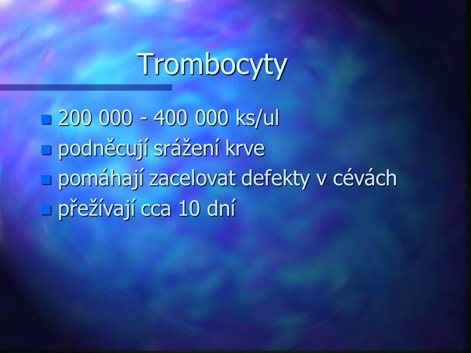 Trombocyty n 200 000 - 400 000 ks/ul n podněcují srážení krve n pomáhají zacelovat defekty v cévách n přežívají cca 10 dní