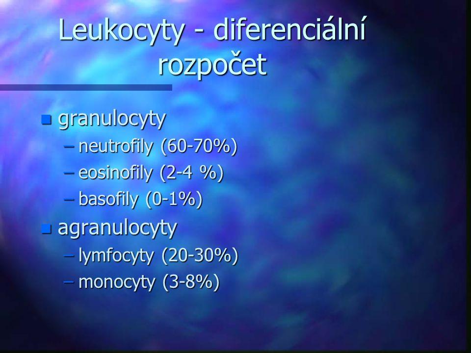 Leukocyty - diferenciální rozpočet n granulocyty –neutrofily (60-70%) –eosinofily (2-4 %) –basofily (0-1%) n agranulocyty –lymfocyty (20-30%) –monocyt