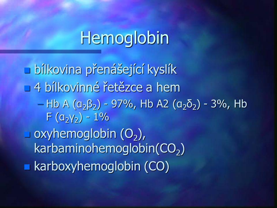 Hemoglobin n bílkovina přenášející kyslík n 4 bílkovinné řetězce a hem –Hb A (α 2 β 2 ) - 97%, Hb A2 (α 2 δ 2 ) - 3%, Hb F (α 2 γ 2 ) - 1% n oxyhemogl