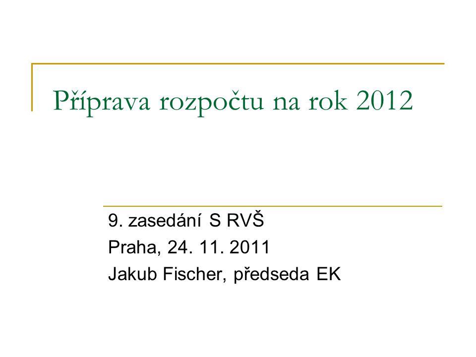 Příprava rozpočtu na rok 2012 9. zasedání S RVŠ Praha, 24. 11. 2011 Jakub Fischer, předseda EK