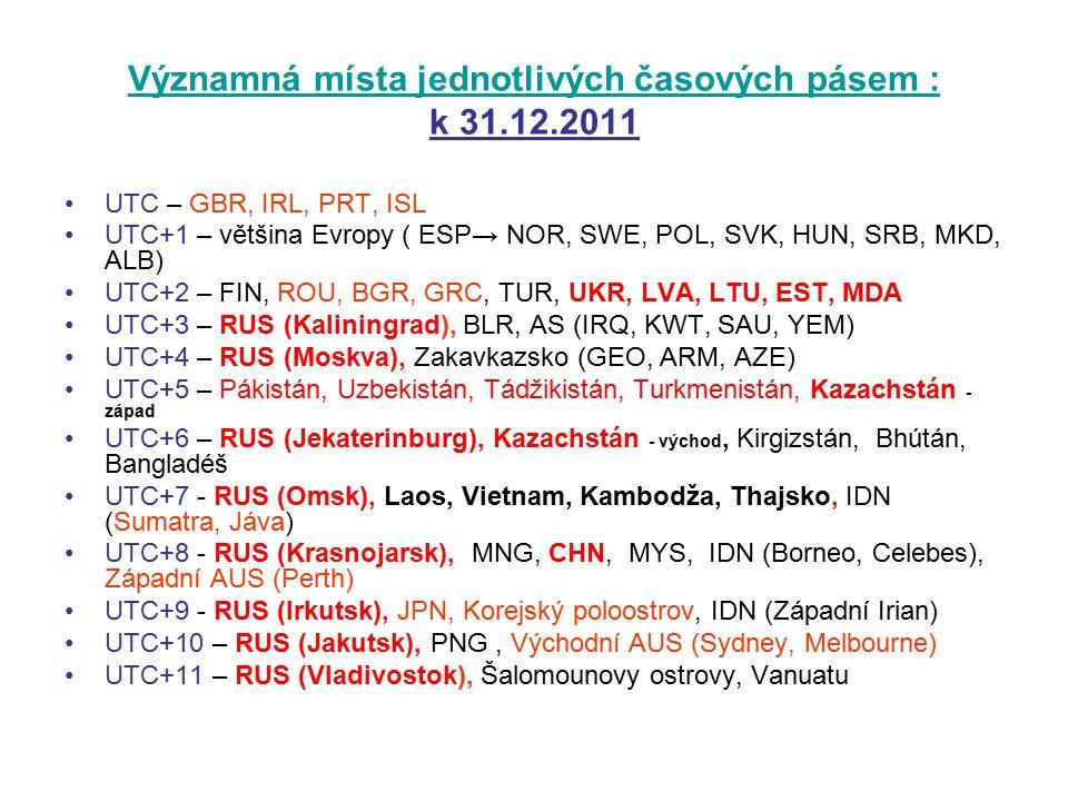 Významná místa jednotlivých časových pásem : Významná místa jednotlivých časových pásem : k 31.12.2011 UTC – GBR, IRL, PRT, ISL UTC+1 – většina Evropy