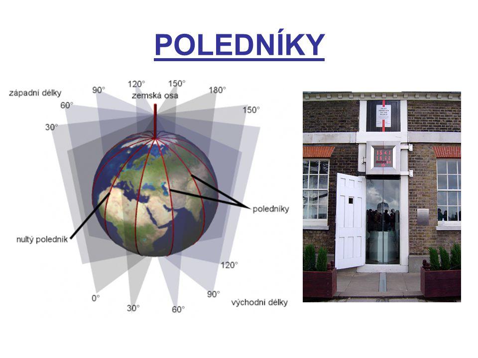 pomyslné polokružnice vedené po povrchu zemském od pólu k pólu určují severojižní směr hlavní poledník 0°zem.délky (greenwichský, nultý) poledníky 0° a 180° zem.délky dělí zeměkouli na západní a východní polokouli