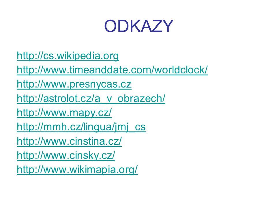 ODKAZY http://cs.wikipedia.org http://www.timeanddate.com/worldclock/ http://www.presnycas.cz http://astrolot.cz/a_v_obrazech/ http://www.mapy.cz/ htt