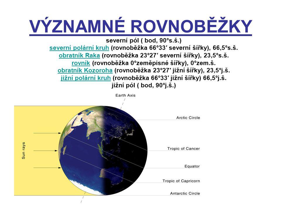 ROVNOBĚŽKY pomyslné kružnice vedené po povrchu Země určují západovýchodní směr od rovníku k pólům se zkracují rozdělují zeměkouli na severní a jižní polokouli