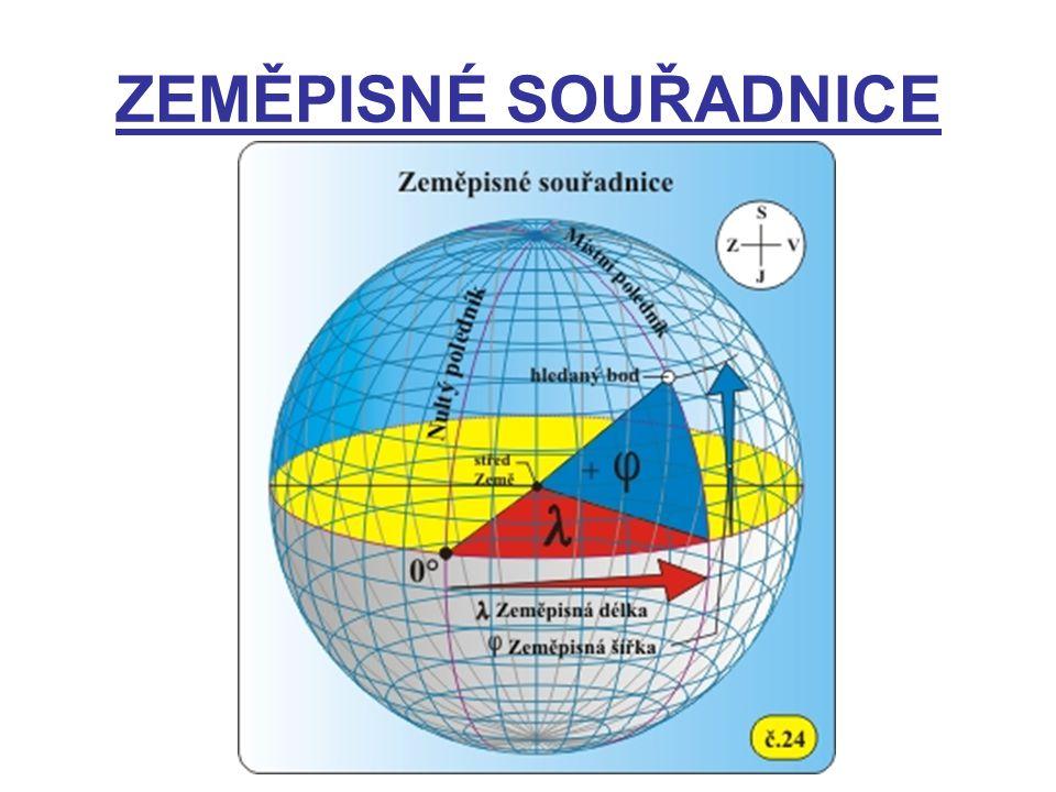 ZEMĚPISNÁ ŠÍŘKA ( φ ) – úhel mezi rovinou rovníku a spojnicí středu Země s bodem na zemském povrchu 0°- 90° na sever – severní šířka (s.š.) 0°- 90° na jih – jižní šířka (j.š.) ZEMĚPISNÁ DÉLKA ( λ) – úhel mezi dvěma poledníky – nultým a místním 0°- 180°na východ – východní délka ( v.d.) 0°- 180°na západ – západní délka (z.d.)