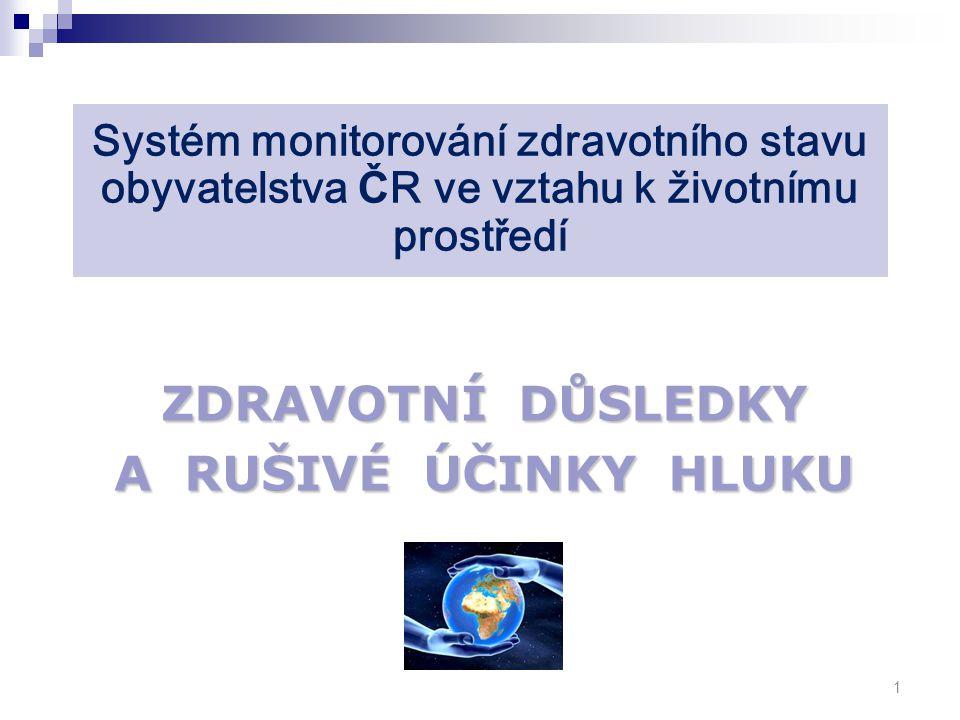 Systém monitorování zdravotního stavu obyvatelstva Č R ve vztahu k životnímu prostředí ZDRAVOTNÍ DŮSLEDKY A RUŠIVÉ ÚČINKY HLUKU 1