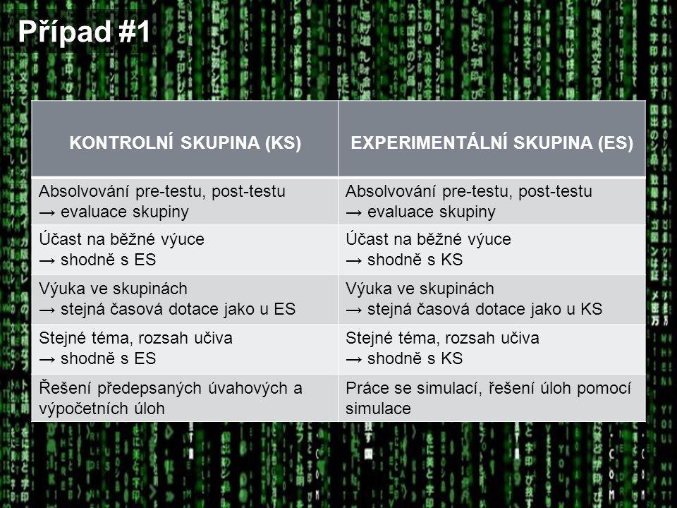 Případ #1 KONTROLNÍ SKUPINA (KS)EXPERIMENTÁLNÍ SKUPINA (ES) Absolvování pre-testu, post-testu → evaluace skupiny Absolvování pre-testu, post-testu → e