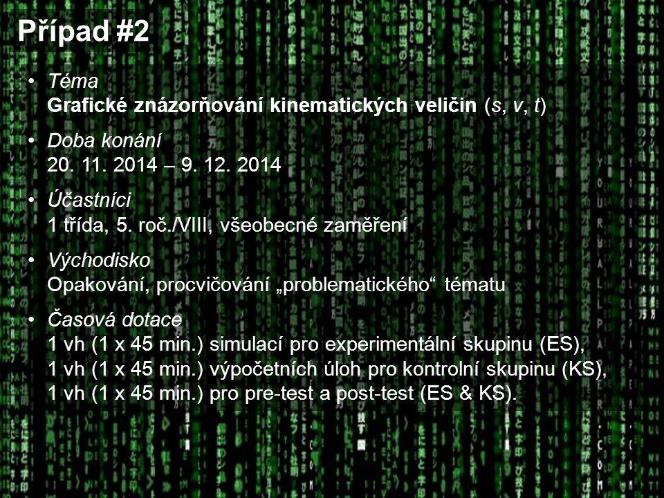 Případ #2 Téma Grafické znázorňování kinematických veličin (s, v, t) Doba konání 20. 11. 2014 – 9. 12. 2014 Účastníci 1 třída, 5. roč./VIII, všeobecné