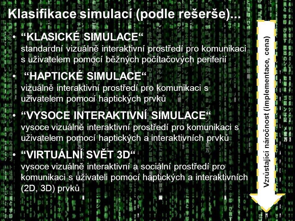 """Klasifikace simulací (podle rešerše)... """"KLASICKÉ SIMULACE"""" standardní vizuálně interaktivní prostředí pro komunikaci s uživatelem pomocí běžných počí"""